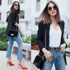 Valentino Black New Pink Crystal Embellished Round Sunglasses off retail Blazer Outfits, Casual Outfits, Casual Chic, Vans Era, Look Blazer, Red Pumps, Valentino Black, Office Looks, Oxford
