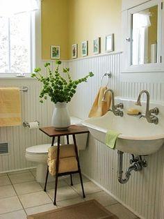 farmhouse bathrooms, bathroom ideas, diy, flooring, home decor, how to, repurposing upcycling, A gorgeous yellow Farmhouse bathroom
