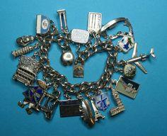 Vintage Sterling Silver World Travel Charm Bracelet from just4girls on Ruby Lane