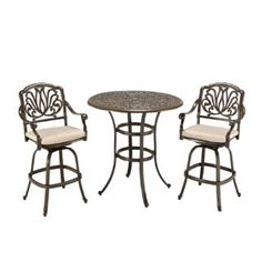 Check out the Home Styles 5559-359 Floral Blossom 3 Piece Bistro Set in Taupe