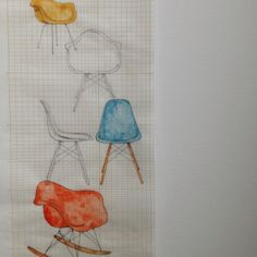 Homage to Eames - Original Hand painted Watercolour Drawing -Ray and Charles Eames Chairs