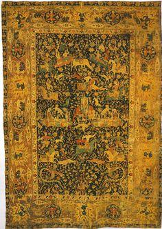 """Sanguszko"" Safavid Carpet, Kerman, Central Iran, late 16th century, Musee des Arts Decoratifs in Paris"