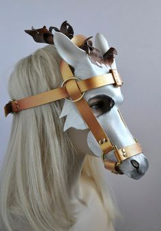 White Horse Mask with Detachable Bridle in leather by HawkandDeer