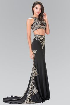 Long Two-Piece Embroidered Illusion Dress by Elizabeth K GL2296