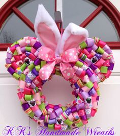 Easter+Minnie+Mouse+Ribbon+Wreath+with+Hot+by+KKsHandmadeWreaths,+$35.00