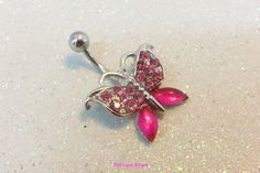 Bellybutton jewelry ring w fuchsia pink cubic zirconia butterfly 14ga | YOUniqueDZigns - Jewelry on ArtFire
