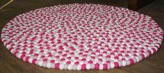 'Pastel Pinks' Felt Ball Rug by Native Craft