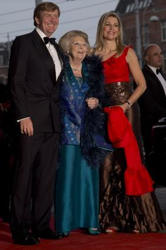 Princess Maxima of the Netherlands with her husband Crown Prince Willem-Alexander and Queen Beatrix April 2013 just weeks away from Beatrixs abdication on 30 April,