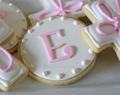 Initial Cookies... Baby Girl Baptism Cake, Cookies and Cake Pops
