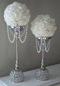 WHITE Flower Ball With DRAPING PEARLS. Wedding Decor, Bridal Shower,  Flower Girl. Choose Your Rose Color.