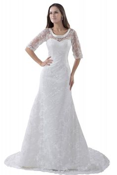 GEORGE BRIDE Elegant Half Sleeves Lace over Satin Wedding Dress with Bow at Amazon Women's Clothing store: Wedding Dresses For Bride