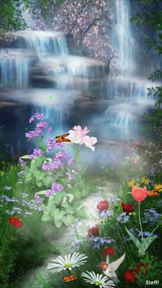 Beautiful garden with waterfall and flowers so pretty! Beautiful Gif, Beautiful World, Beautiful Places, Amazing Gifs, Amazing Nature, Gif Pictures, Pretty Pictures, Beautiful Waterfalls, Beautiful Landscapes