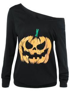 Skew Collar Pumpkin Lamp Print Sweatshirt