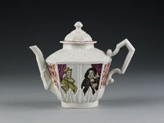 Teapot and cover Vezzi porcelain factory 1725 A worker defecting from the Meissen factory took the secret of porcelain to Italy in 1720. The Vezzi factory at Venice began to produce novel shapes with imaginative decoration. Such products owed nothing to Chinese prototypes. V&A Search the Collections