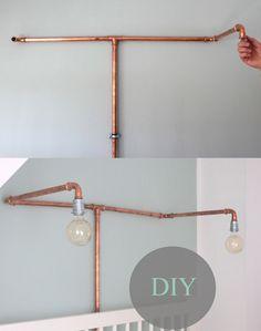 DIY: Eine Lampe aus Kupfer Die Anleitung gibt es auf https://www.kolorat.de/blog/2015/04/27/diy-kupferlampe-im-schlafzimmer  #KOLORAT #DIY #Kupfer
