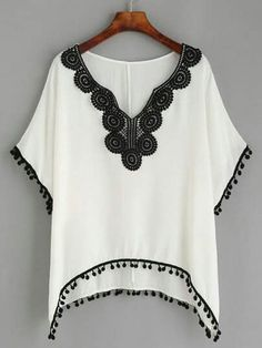 To find out about the White Lace Pompom Trim Asymmetrical Blouse at SHEIN, part of our latest Blouses ready to shop online today! Sewing Clothes, Crochet Clothes, Diy Clothes, Beachwear Fashion, Boho Fashion, Womens Fashion, Blouse Patterns, Clothing Patterns, White Dresses For Women