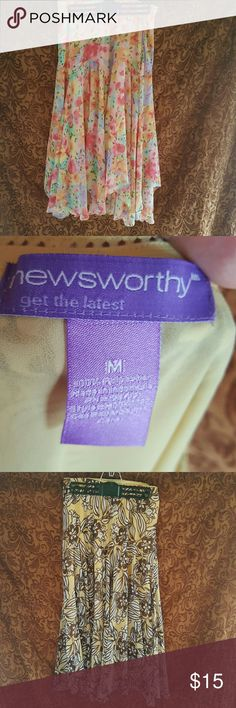 2 skirts for the price of 1 Newsworthy Medium skirts in muli-colored girlish frills outer scarflike layers with under skirt attachment so no one can see thru. Newsworthy  Skirts