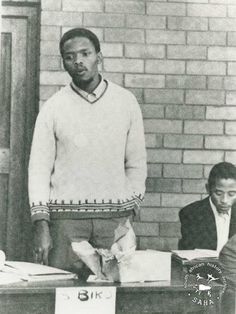 Steve Biko addressing the second general students' council of the South African Students' Organisation (SASO) at University of Natal, July 1971.