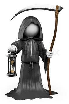 Stock Image Of 3d White People Halloween The Grim Reaper Costume Isolated Bonhomme BlancImages De