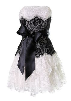 Ever Beauty Strapless Lace Ruffle Short Prom Cocktail Gown with Black Sash 30014