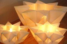 Three Lunar White Waldorf Star Lanterns by greenbaboondesigns, 15.00 hmmm centerpiece idea?