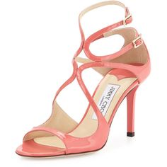 Jimmy Choo Coral Patent Leather Ivette Sandals (157.195 HUF) ❤ liked on Polyvore featuring shoes, sandals, coral, jimmy choo shoes, ankle tie sandals, strappy shoes, coral strappy sandals and ankle strap shoes