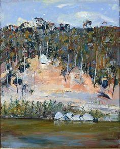 Arthur Boyd: River bank and four rocks 1993 Watercolor Landscape, Abstract Landscape, Landscape Paintings, Watercolor Canvas, Contemporary Landscape, Australian Painting, Australian Artists, Arthur Boyd, Desert Art