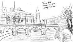 Как нарисовать город карандашом поэтапно 4