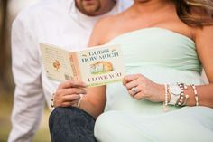 Great maternity photo idea, but with the kids reading.