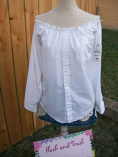 Upcycled Recycled White Dress Shirt Peasant by libbyjoy1 on Etsy