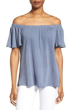 Main Image - Caslon® Linen Blend Off the Shoulder Tee (Regular & Petite)