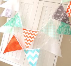 9 Feet Banner, 21 Fabric Flag Bunting, Vintage Beach, Orange, Aqua, Grey, Teal, Chevron, Starfish and Polka Dots, Room Decor, Party Garland