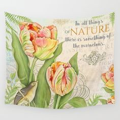 #tulips #vintage #nature #watercolor #colorful #flowers #floral #woman #girly #pretty #shabby #spring #summer available in different #homedecor products. Check more at society6.com/julianarw #walltapestry #bedspread