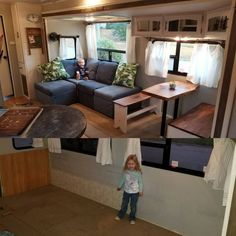 Done with camper slide re-remodel. Trashed the stock seating, built modular sofa from walnut benches and pecan slab table… Rv Living, Tiny Living, Happy Campers, Motorhome, Rv Interior, Interior Design, Interior Paint, Farmhouse Remodel, Camper Makeover
