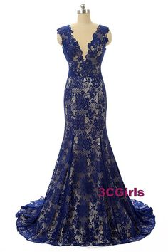 Blue lace prom dress, ball gown, Cute mermaid dress for prom 2017