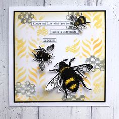 Birthday Cards, Bee, Stamp, Crafty, Decor, Bday Cards, Honey Bees, Decoration, Stamps