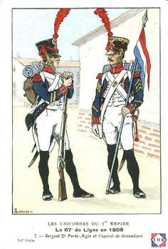 67e régiment d'infanterie de ligne en 1808 Military Art, Military History, French Army, Army & Navy, France, Napoleonic Wars, Illustration, Aircraft, Urban