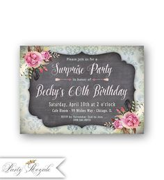 118 best surprise birthday party invitations images on pinterest in womens 60th surprise birthday invitations vintage style 30th 40th 50th or any age surprise party invites adult birthday invitation filmwisefo