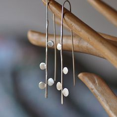 Long sterling silver thread earrings Small dots by oblissjewellery, $50.00