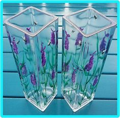 Hand painted glass square bud vase lavender and by ClearlyVermeil Lavender Flowers, Bud Vases, Cottage Chic, I Am Happy, Gifts For Her, My Etsy Shop, Wings, Gift Wrapping, Butterfly