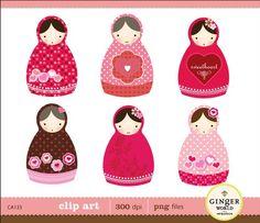 Valentine russe Matryoshka Doll en amour clip art numérique fichiers illustration pour le scrapbooking (CA133)