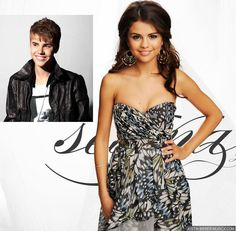 Selena & Justin. She looks,good I'm that dress and justin looks like his got the swag