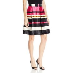 Trina Turk Women's Elisha Satin Stripe Skirt ($66) ❤ liked on Polyvore featuring skirts, knee length skirts, full skirt, striped skirt, knee high skirts and knee length full skirt