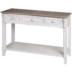 This Bonsoni Ye Olde England Three Drawer Console Table would be a wonderful addition to your lovely home. This Console Table is made of Wood and the main colour of this Console Table is White.This 3 drawer console table is produced with strong wood and c Shabby Chic Console Table, Table Console Blanche, Shabby Chic Side Table, Large Console Table, Antique Console Table, Oak Bedroom Furniture, Living Furniture, Upholstered Furniture, Furniture Ideas
