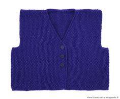 """Le gilet est tricoté au point de riz en """"Kaléïdo"""". Pour les garçons ou pour les filles, ce gilet est mixte !"""
