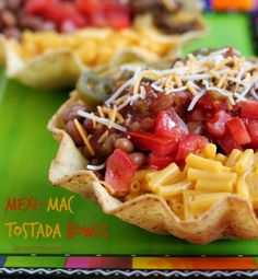 Try these delicious Mexi-Mac Tostada Bowls for a taste sensation! Made in 20 minutes by twisting macaroni and cheese into an even tastier Mexican meal.