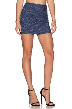 Alice + Olivia Elana Mini Skirt in Navy & Black | REVOLVE