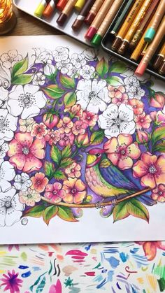 Spring Coloring Pages, Coloring Book Art, Flower Coloring Pages, Adult Coloring Pages, Secret Garden Coloring Book, Colored Pencil Techniques, Color Pencil Art, Abstract Drawings, Color Blending