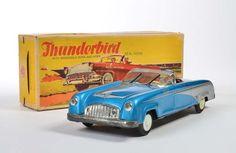 Niedermeier, Thunderbird blau, W.-Germany, 34 cm, Blech, Friktion ok, min. LM, Okt Z 1-2 (1 Lasche eingerissen), Hupe ohne Funktion, Z 1-  Niedermeier, Thunderbird blue, W.-Germany, tin, friction ok, min. paint d., box C 1-2 (1 flap torn), horn without function, C 1-