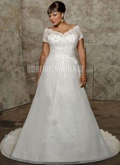 Traîne chapelle robe de mariée col en v dentelle broderie organza [#ROBE2010000] - robedumariage.com